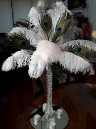 Feather Vase Centerpieces by Peacock Ostrich Feather Centerpiece 16