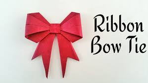tie ribbon ribbon bow tie diy origami craft tutorial by paper folds