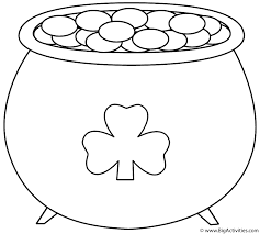 pot of gold with shamrock 2 coloring page st patrick u0027s day