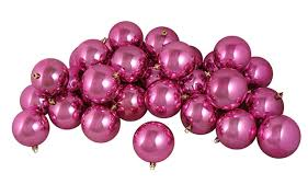 32ct shiny pretty in pink shatterproof ornaments
