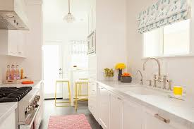 Trellis Kitchen Rug White Galley Style Kitchen With Pink Rug Transitional Kitchen