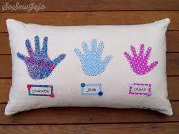 grandchildren handprint pillow cushion hand sewn and fully