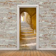 online get cheap door wall stickers aliexpress com alibaba group wall sticker door imitation 3d european style stone staircase stickers creative decorative living room bedroom self adhesive
