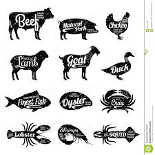 set of butchery logotype templates cartoon farm animals with