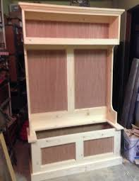 Wood Bench With Storage Plans by Hall Tree Plans Could Have Left The Panels As Is But I Thought