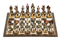 decorative chess board with chess pieces in luxury living room