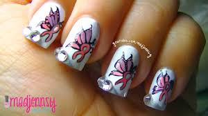 unique breast cancer awareness butterfly ribbon nail