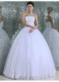 white wedding dresses gown strapless length tulle white wedding dress