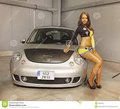 prague car pretty women model car parade advertising editorial stock photo