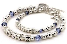 bracelets with birthstones sterling silver birthstone name bracelet set letter