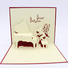 3d paper laser cut carving piano angel postcard greeting cards