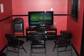 Game Room Decorating Splendid Black Seater Folding Chairs With Black Tv Stands As Well As
