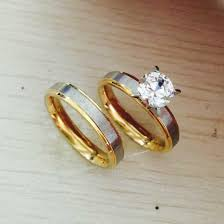 cheap wedding sets for him and never fade 4mm titanium steel cz diamond korean rings set