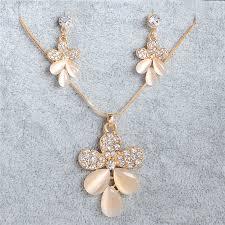 opal flower necklace images Korean fashion crystal pendant necklace women stud earrings opal jpg