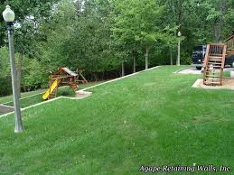 Landscaping Ideas Hillside Backyard Playset On Sloped Lower Yard With Retaining Wall Garden Yard