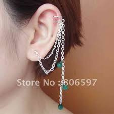s ear cuffs whhec079 new arrival silver gun black chain ear cuffs