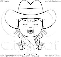 cartoon clipart of a black and white cheering sheriff cowboy kid