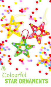 colourful pom pom popsicle stick stars kids craft room