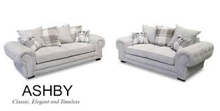 Grey Silver Sofa Ashby 3 2 Seater Silver Fabric Sofa