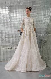 couture wedding dresses crew neck half sleeve lace appliqued embroidered organza hautue