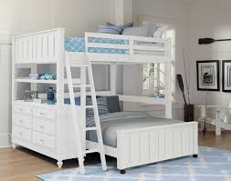 NE Kids Lake House Adrian Twin  Full Bunk Bed White Kids N Cribs - Ne kids bunk beds