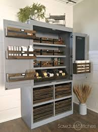 Free Standing Shelf Plans by Ana White Free Standing Pantry With Crate Storage Featuring