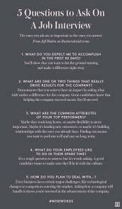 How Do You Make A Job Resume by Questions To Ask During An Interview Career Finance Pinterest
