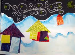 cassie stephens in the art room winter collage landscapes by