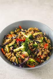 brown rice stir fry with vegetables simple vegan blog