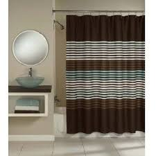 Brown Floral Shower Curtain Amazon Com Spa Stripe Brown And Aqua Fabric Shower Curtain