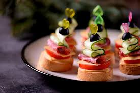 canap toast canapé on skewer from bread baguette with toast cheese sausage