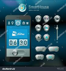mobile interface elements smart house system stock vector