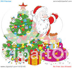 clipart of a cartoon santa claus putting gifts under a christmas