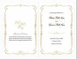 one page wedding program one page wedding program template top free resume sles