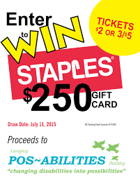 gift card fundraiser fundraiser draw 250 staples gift card langley pos abilities