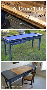 How To Make A Wood Table Top Diy Gaming Table And Desk From An Upcycled Table Diy Danielle