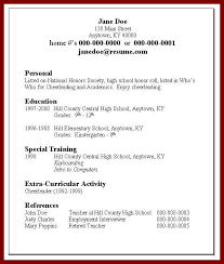 sample resume high no work experience