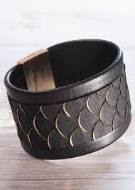 black leather strap bracelet images Amanda blu leather cuff bracelet wide black scale jpeg