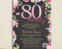 fuschia floral gold chalkboard 80th birthday invitation any