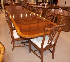 Chippendale Dining Room Set by 16 Ft Regency Dining Table Triple Pedestal Mahogany Diner Ebay