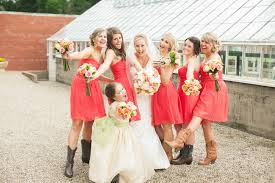 chic photos of stylish coral bridesmaid dresses with cowboy boots