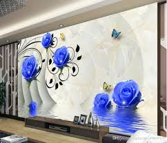 high quality costom 3d blue roses background wall murals mural 3d see larger image