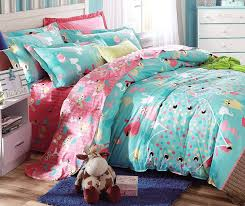 Bed Linen For Girls - amazon com cliab cat bedding for girls twin coral green cats bed