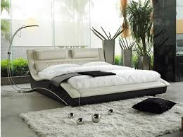 contemporary bedroom furniture white padded cushion flanked