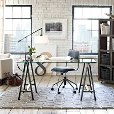 Trestle Computer Desk Desk Glass Top Office Desk Furniture Glass Table Top Computer