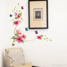 3d pink flowers with butterflies wall decal fathead look decorate