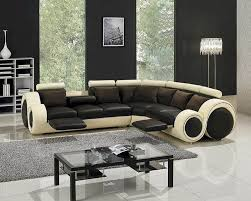 Modern Leather Sofa Two Tone Leather Sectional Sofa Set With Recliners 44lt27c
