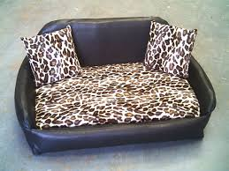 Leather Sofa And Dogs Zippy Faux Leather Sofa Pet Bed Large Brown Leopard 5