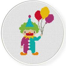 clown balloon clown with balloons cross stitch pattern daily cross stitch