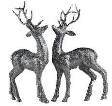 set of 2 silver glitter reindeer figurines decorations